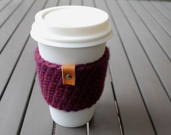 Coffee Cup Sleeve / Coffee Cup Cozy / Coffee Cozy / Tea Cup Sleeve - Isle Royale Burgundy Purple
