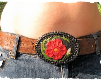 Tooled and Laced Leather Belt Buckle