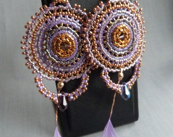 """Earrings """"Violette"""" beads Or feathers"""