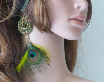 Feather Peacock and green Briolette earrings