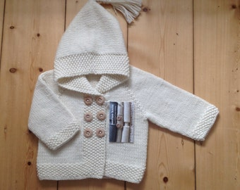 MARLI COAT hand knitted wool baby toddler double breasted hooded jacket coat