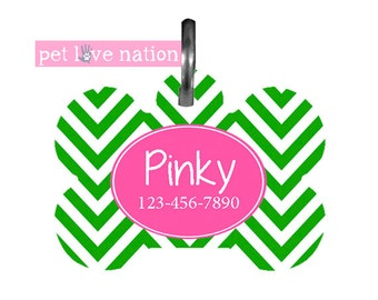 Personalized Pet Tag, Dog Tag, ID Tag, Green Chevron Pink Accent Pet Tag With Name And Phone Number  -  #20