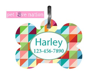Personalized Pet Tag, Dog Tag, ID Tag, Geometric Shapes Pet Tag With Name And Phone Number  -  #40