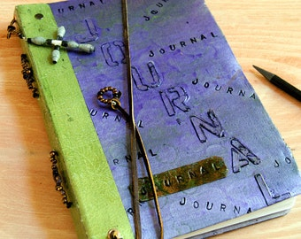Handmade Journal Sophisticated Turkish Marble in Purples and Greens with Textured and Embossed Words