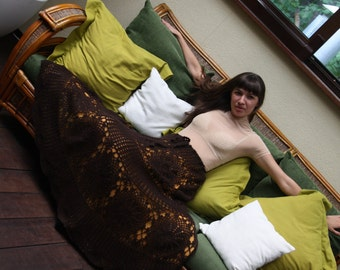 """Knitted angora skirt, long skirt """"Dark Chocolate"""""""