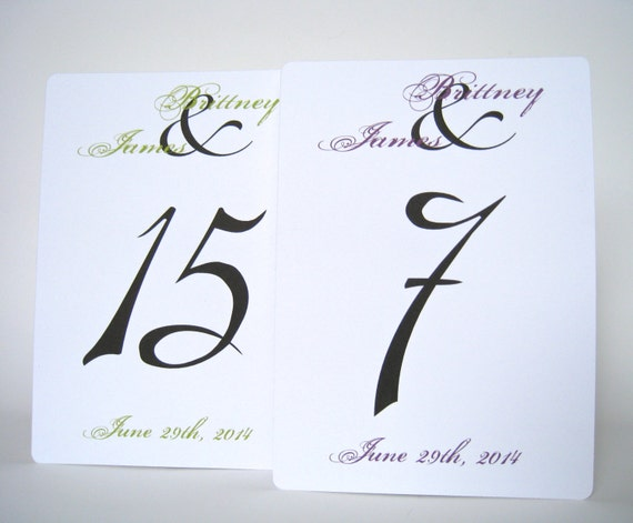 "5""x7"" personalized table numbers, wedding table numbers cards, set of 10"