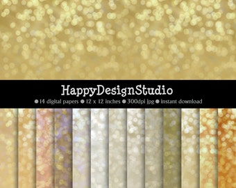 gold and silver glitter bokeh paper pack, instant download, commercial use, BG02