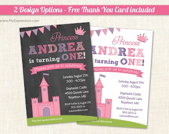 Pink Princess Castle Birthday Invitations - Girls First Birthday Invitations - Printable