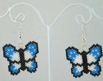Beaded Butterfly in Blue and White Earrings