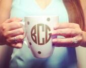 Polka Dot Monogram Coffee Mugs / Cups - Perfect for Bridesmaid Gifts!