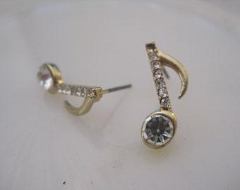 Gold Music Note Earrings - Stud Earrings - Rhinestone Single Music Note Earrings -  - Music Jewelry - Music