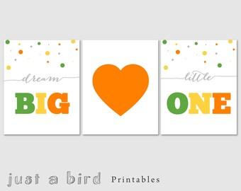 Dream big little one print set,nursery decor set, girls room decor, green orange yellow, heart- INSTANT DOWNLOAD
