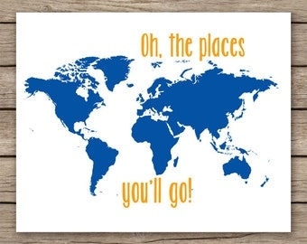 16x20 nursery art, Oh the places you'll go, deep blue orange nursery decor, world map print childrens art, kids room art  - INSTANT DOWNLOAD