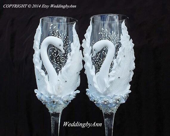Custom Wedding Wine Glasses Canada : Wedding Champagne Glasses Wedding Champagne Flutes by WeddingbyAnn