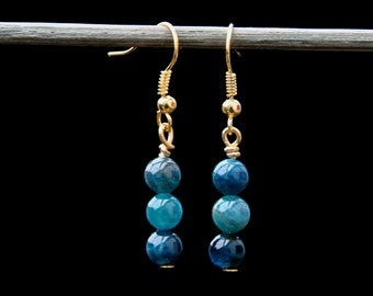 Earrings. A pair of rare Blue Apatite Gold plated dangle earrings. Also available in Sterling Silver.