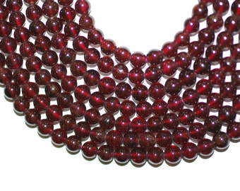 Garnet Natural 6mm Round Beads AAA Best Top Gem Quality Full Strand 16 inches or Half Strand 8 inches