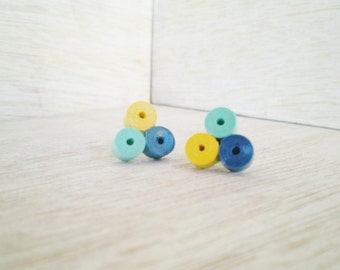 Minimal Stud Earrings Yellow Blue Mint Green Recycled Paper Jewelry Eco-Friendly Free Shipping / Σκουλαρίκια από χαρτί