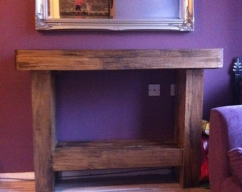 Chunky Solid Wood Handmade Console Table. CAVEMAN FURNITURE