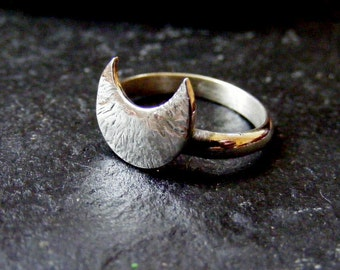 Silver RIng with textured crescent moon for stacking