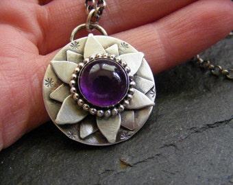 Silver Amethyst Lotus Flower pendant necklace Silver amethyst Water Lily Pendant