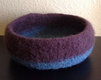 Teal and brown wool crochet felted decorative bowl