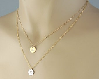 Layered Necklaces 14k Gold or Silver. Double Strand Initial Disc Necklace. Personalized Two Initial Layering Necklace Rose Gold. Mom Gift
