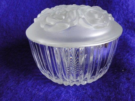 Glass Vanity Bowls : Vintage Clear and Frosted Glass Vanity Bowl with Roses