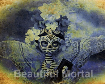 Beautiful Mortal Dia De Los Muertos Butterfly Princess Doll Canon PRINT 410 Reproduction by Michael Brown