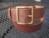 """Incredible Deadstock Unworn 1930s-1940s Brown Leather Belt  -- Waist:  36"""""""