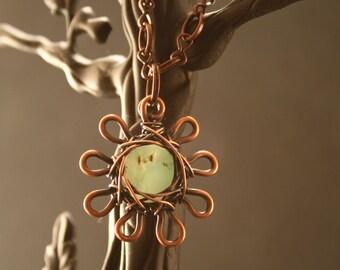 Copper Pendent Necklace,Copper Pendent,Copper Flower Pendent Necklace,Flower Necklace,Copper Flower Chrysoprase Stone Pendent Necklace #573