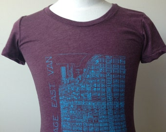 Vintage East Van Women's Hand printed T-shirt