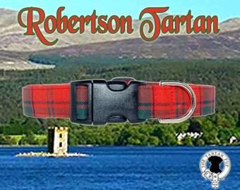 Robertson Tartan Dog Collar,,, Authentic tartan from the Scottish Clan Robertson