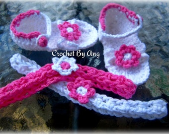 Baby Girl 0-6 Months Flower Sandals And Headband Set