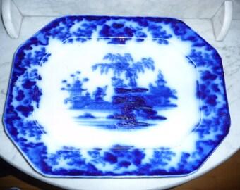 Antique ''Flow Blue'' Service Platter  - S. Alcock – ''Scinde'' – circa 1840