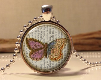 Butterfly necklace.  Butterfly art pendant jewelry
