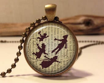 Peter Pan  Jewelry, Peter Pan Necklace Peter Pan art pendant jewelry.(peter pan #8)
