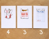 Thank You Set: Ten Hand-Painted Watercolor Illustration Postcards + Optional Envelopes. Chinese Food, Takeout Bag, Retro Diner Receipt.