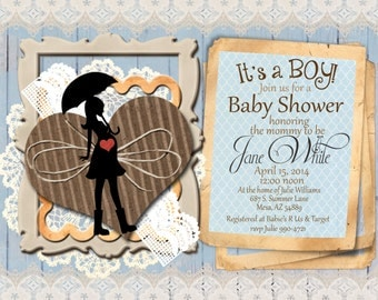 items similar to rustic lace country baby shower invitation on etsy