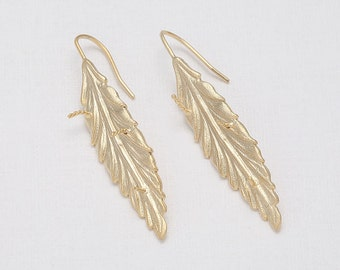 Leaf  Hook(Pin)  Matte Gold- Plated - 2 Pieces <H0042-MG>