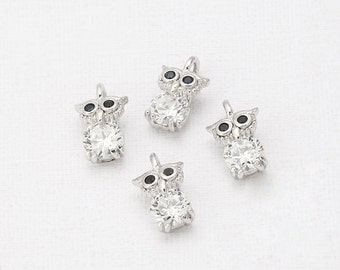 Cubic Black Eyes Owl Pendant  Polished Rhodium-Plated - 1 Pieces <TT0005-PR>