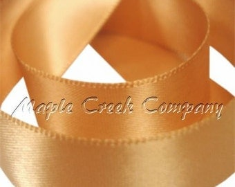 "5 yards of Antique Gold Double Face Satin Ribbon, 5 Widths Available: 1 1/2"", 7/8"", 5/8"", 3/8"", 1/4"""