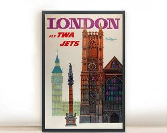 "London fly TWA Jets Vintage Travel Poster, Art Print Posters, Dorm Decor, Minimalist Art, Vintage Advertising Poster 13"" x 19"""