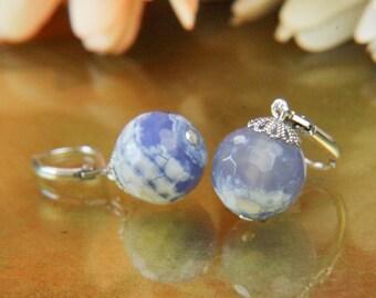 Blue Burst Pattern Agate Gemstone Earrings