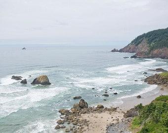 Oregon Coast Beach Ecola State Park Landscape Ocean Pacific Northwest Photo Photography 8x10 Print
