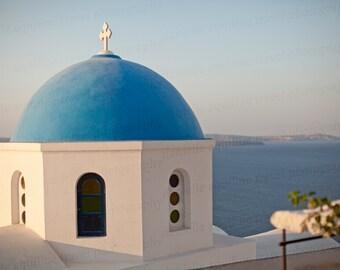 Oia Santorini Greece, Santorini Blue Roof, Santorini Greece Photo, Greece Travel Photography, 8x10 Photo, Art Decor