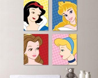 Baby Girl Nursery Print Art - Bold Bright Colorful - Disney Princess Nursery Decor - Kids Wall Art - Princess Nursery Decor   (NS-462)