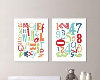 Alphabet and Number Print Art - Nursery Art - Nursery Decor - Baby Decor - Alphabet Poster - Playroom Art. Playroom Wall Art. (NS-472)
