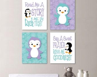 Baby Girl Nursery Art Penguin Nursery Art Penguin Nursery Decor Penguin Bedroom Art