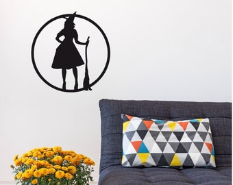 Halloween Witch Decal - Witch Decal - Wall Decal, Car Decal, Laptop Decal - Halloween Decor