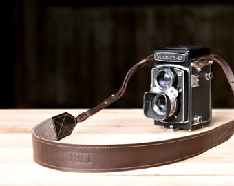 Leather Camera Strap - Coffee